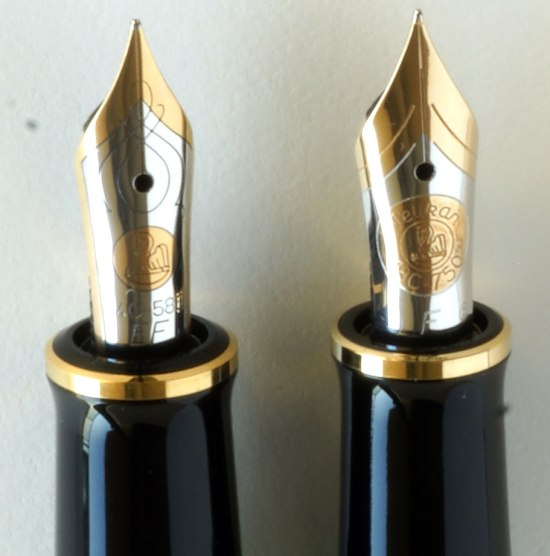 Side by side comparison of new and old style Pelikan M600 nibs