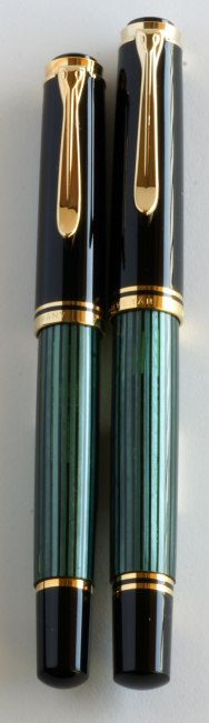 Side by side comparison of old & new style Pelikan M600's