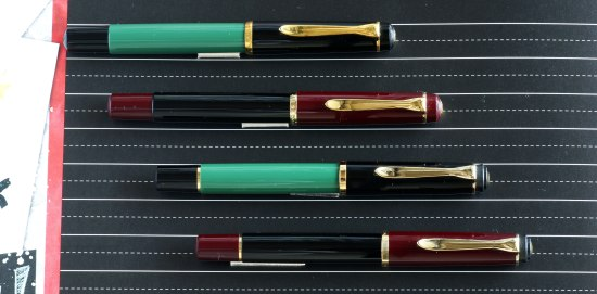 Green and burgundy Pelikan M150's