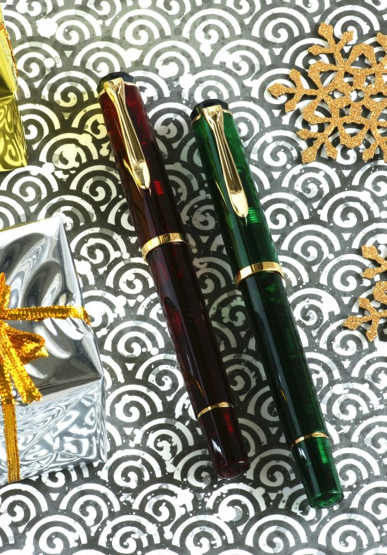 Pelikan M200 red and green demonstrators