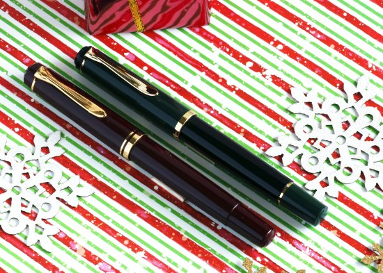 Pelikan M250 burgundy and dark green models