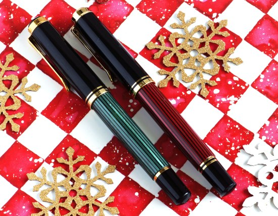 Pelikan M400 red striped and M600 green striped