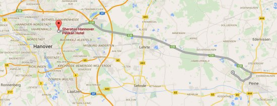 Google map illustrating the distance between the Sheraton Hannover Pelikan Hotel and Pelikan's factory in Peine