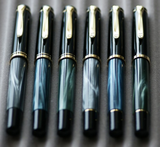 Pelikan Grey, Blue, and Green Marbled M200's in Old and New Styles