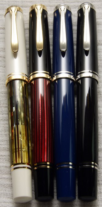 Pelikan M400 White Tortoise, M400 Red Stripe, M405 Dark Blue, M405 Black