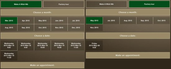 Pelikan Wish Nib and Factory Tour Booking Screen