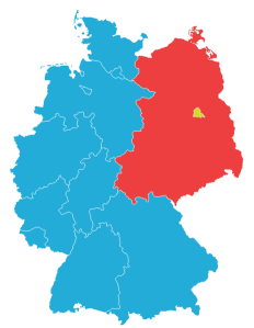 Map depicting West and East Germany, 1949-1990