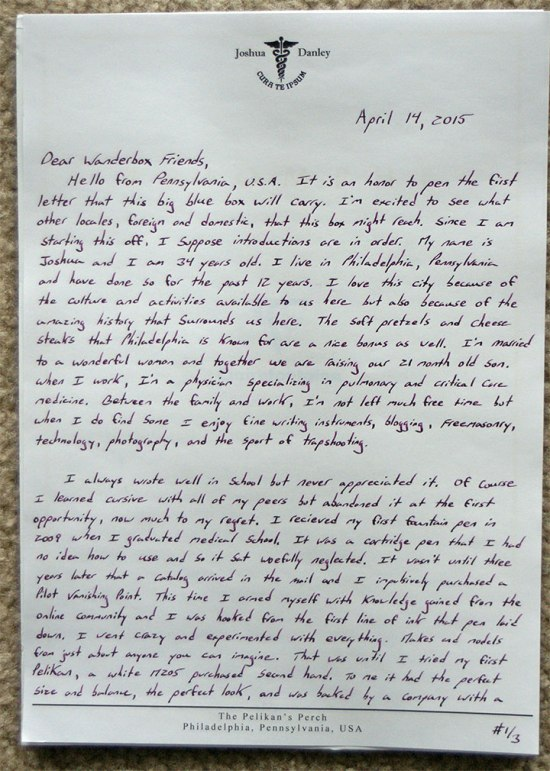 Wanderbox Letter, Page #1