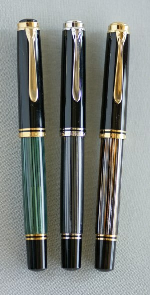 Pelikan M800 Green Striped, M805 Anthracite Stresemann, M800 Tortoiseshell Brown