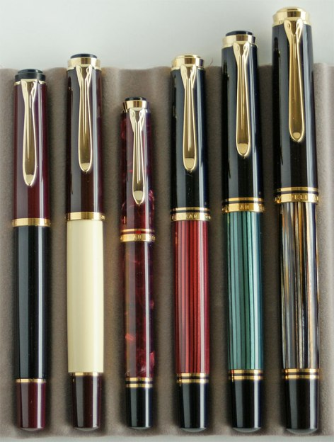 Pelikan M150 Black-Burgundy, M200 Café Crème, M320 Ruby Red, M400 Red Striped, M600 Green Striped, M800 Tortoiseshell Brown