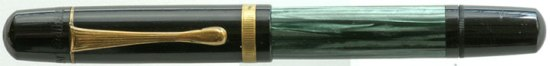 Pelikan 100N green marbled with fluted clip and single cap band