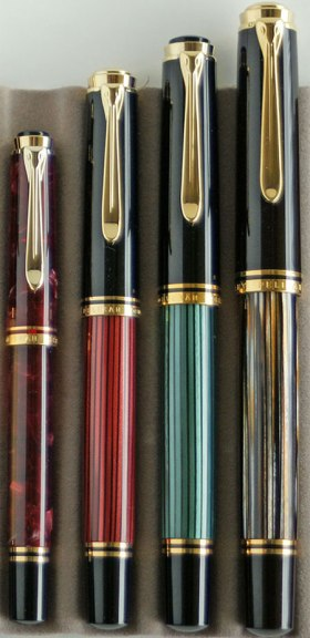Souverän Series, post-'97 left to right: Ruby red M320, Red striped M400, Green striped M600, Tortoiseshell brown M800
