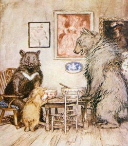 """The Three Bears"" from ""English Fairy Tales"", by Flora Annie Steel, ill by Arthur Rackham"