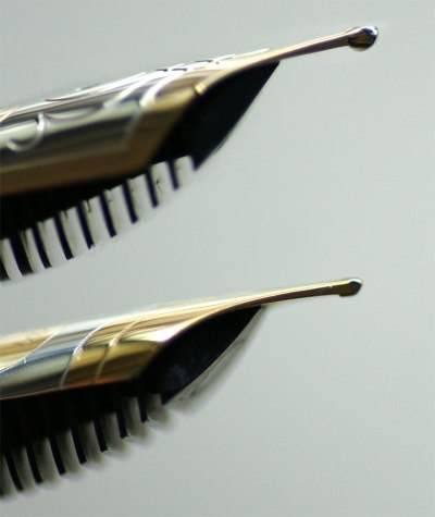 M600 EF nib with tipping circa 2003 (top) and M600 M nib with tipping circa 1990 (bottom)