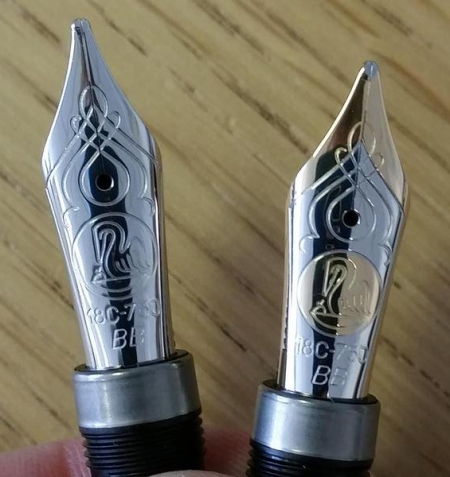 Rhodium plated and two-toned BB nibs