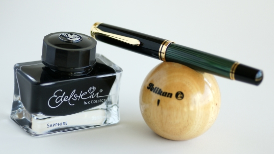 Pelikan M1000 Green Striped Fountain Pen With Edelstein Sapphire