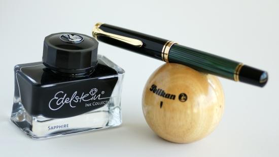 Pelikan M1000 Green Striped Fountain Pen With Edelstein Sapphire