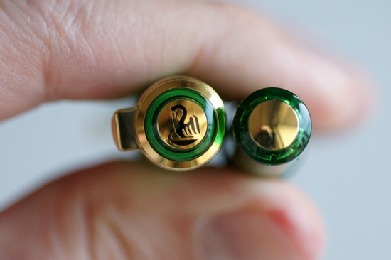Pelikan M800 Transparent Green Collector's Edition Cap Top and Medallion