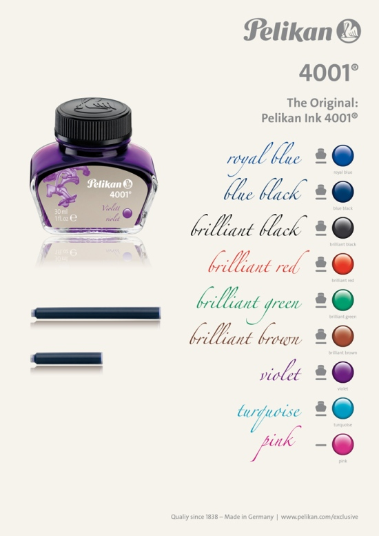 Pelikan's 4001 Line of Inks