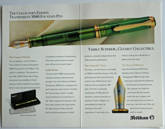 Pelikan M800 Transparent Green Collector's Edition Pamphlet