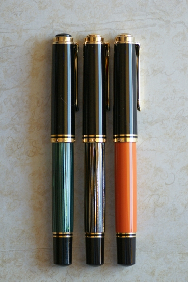Pelikan M800 Green Striped, Tortoiseshell Brown, Burnt Orange