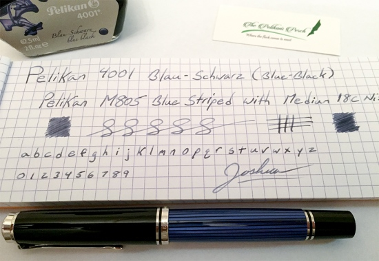 Pelikan 4001 Blue-Black writing sample