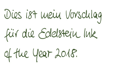 Edelstein Ink of the Year 2018 Olive Green Writing Sample