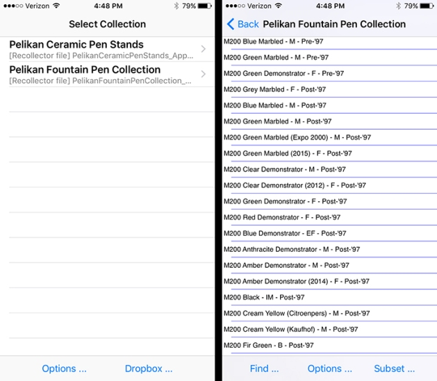 Recollector mobile app (iPhone)
