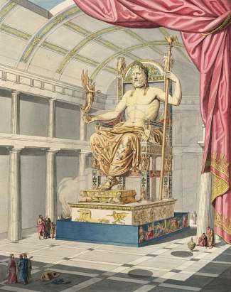 A 19th century illustration by Quatremère de Quincy of what the Statue of Zeus may have looked like