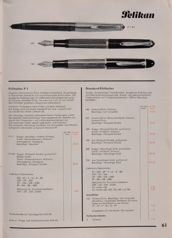 Pelikan 1962 Price List 100A/4