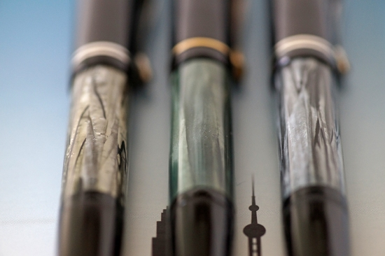 Pelikan 100N Gray and Green marbled bindes