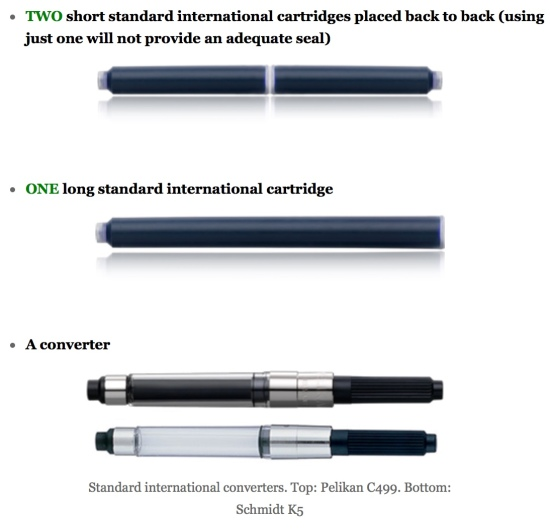 Standard international fountain pen cartridges & converters