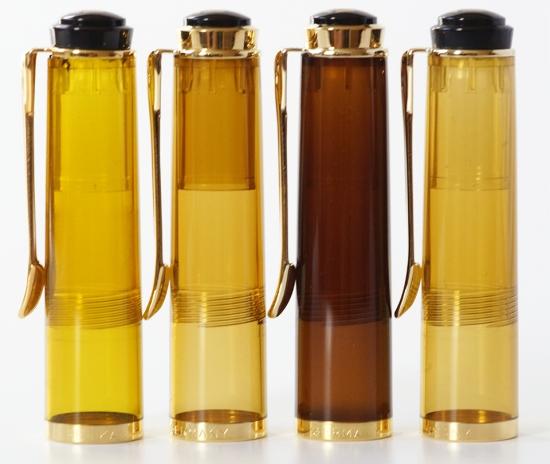 Pelikan M200 Amber, Cognac, Smoky Quartz and M250 Amber Demonstrators
