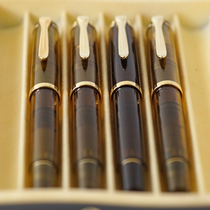 Pelikan M200 Amber, Cognac, Smoky Quartz and M250 Amber Demonstrators