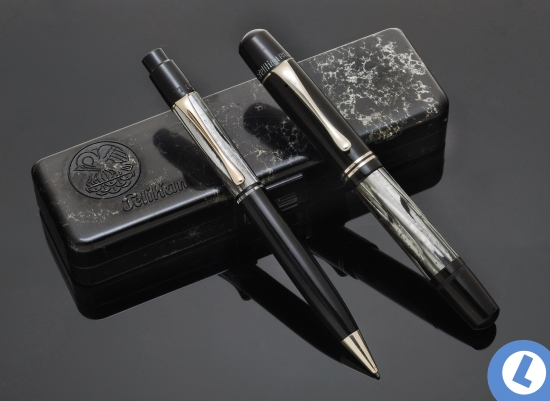 Pelikan Auch 200 pencil and 100N fountain pen in Gray/Nickel shown with original packaging