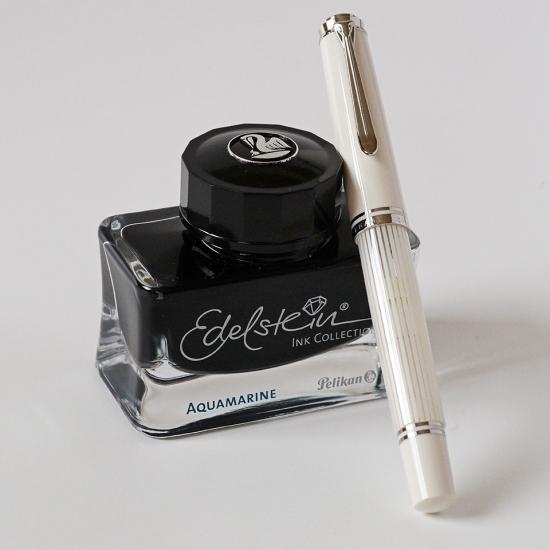 Pelikan M605 White Transparent Fountain Pen & Edelstein Aquamarine Ink