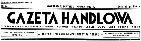 Gazeta Handlowa newspaper, Poland circa 1930