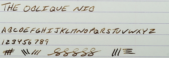 Writing sample from an oblique nib