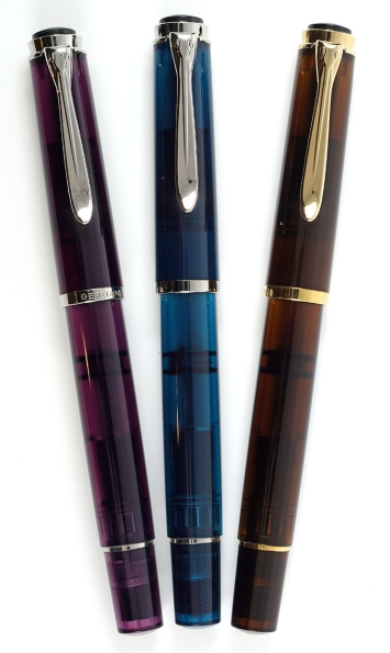 Pelikan M205 Amethyst (2015), M205 Aquamarine (2016), and M200 Smoky Quartz (2017)