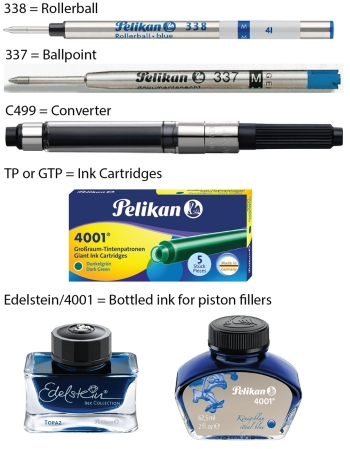 Refills for Pelikan's rollerball, ballpoint, and fountain pens