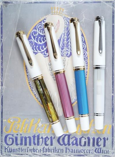 Pelikan M600 Tortoiseshell White, M600 Pink, M600 Turquoise-White, and M605 White Transparent