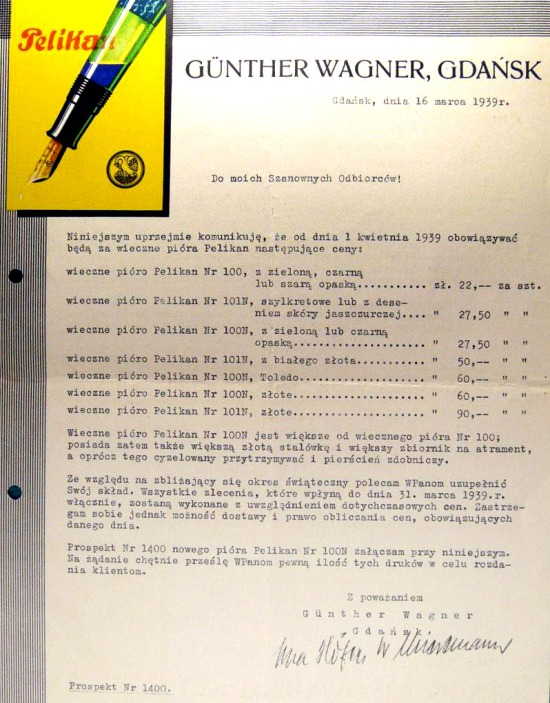 A letter dated March 16, 1939 and detailing items offered by Pelikan in Gdańsk