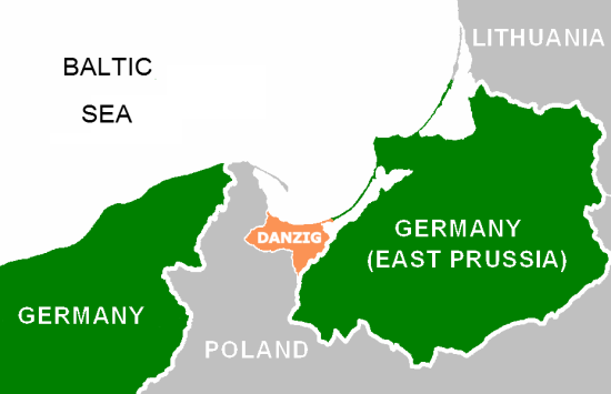 Map depicting the Polish Corridor and the Danzig region in the 1930s