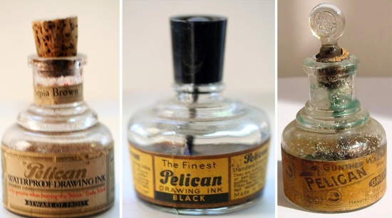 Pelican branded drawing ink bottles (Pelikan)