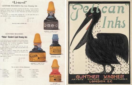 Pelican drawing ink advertisements
