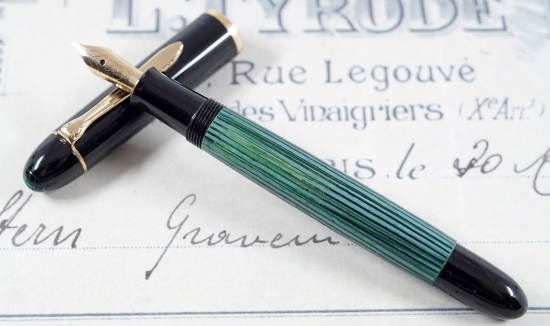Green/black Pelikan 140 fountain pen