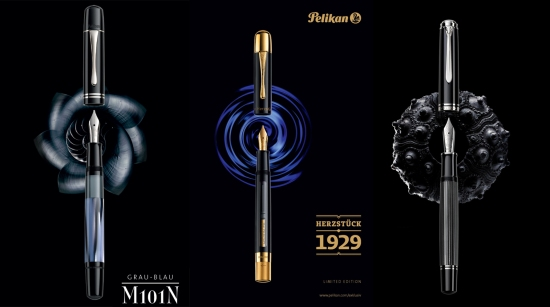 Pelikan M101N Grey-Blue, Herzstück 1929, and M1005 Stresemann