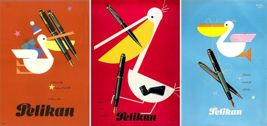 Vintage advertising posters featuring Pelikan's model 400