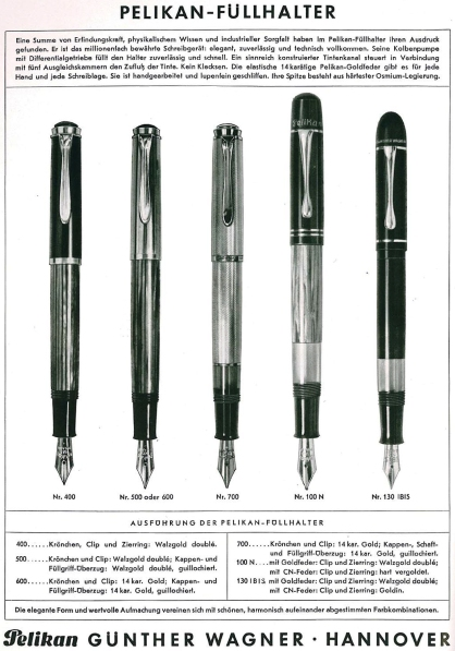 Pelikan's price list 70B dated June 15, 1951