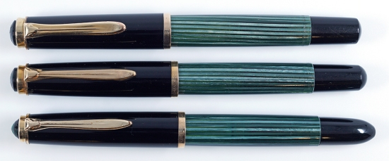 Pelikan 400, 400N, and 400NN in Green/Black striped